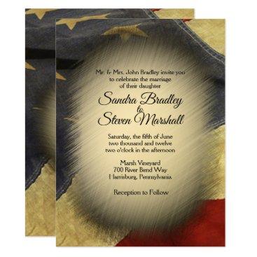 Vintage American Flag Wedding Invitations
