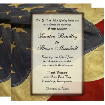 Vintage American Flag Wedding Invitations