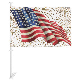 Vintage American Flag with Gold Glitter Fireworks