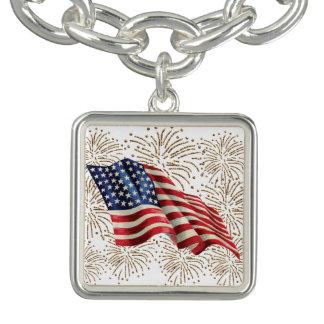 Vintage American Flag with Gold Glitter Fireworks Bracelets