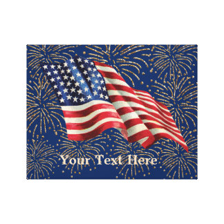 Vintage American Flag with Gold Glitter Fireworks Canvas Print