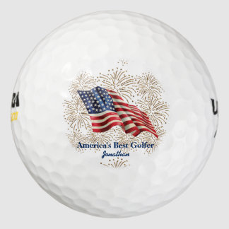 Vintage American Flag with Gold Glitter Fireworks Pack Of Golf Balls