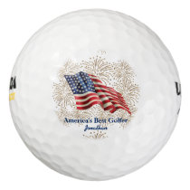 Vintage American Flag with Gold Glitter Fireworks Golf Balls