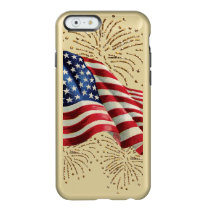 Vintage American Flag with Gold Glitter Fireworks Incipio Feather Shine iPhone 6 Case