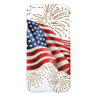 Vintage American Flag with Gold Glitter Fireworks iPhone 7 Case