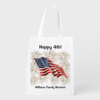 Vintage American Flag with Gold Glitter Fireworks Market Tote
