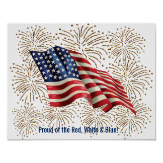 Vintage American Flag with Gold Glitter Fireworks Poster