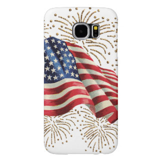 Vintage American Flag with Gold Glitter Fireworks Samsung Galaxy S6 Case