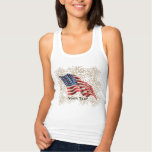 Vintage American Flag with Gold Glitter Fireworks Shirt