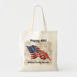 Vintage American Flag with Gold Glitter Fireworks Tote Bag
