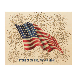 Vintage American Flag with Gold Glitter Fireworks Wood Wall Art
