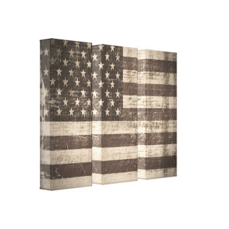 Vintage American Flag Wrapped Canvas