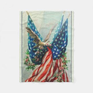 Vintage American Flags Fleece Blanket