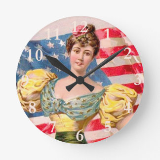 Vintage American Independence Woman Round Clock