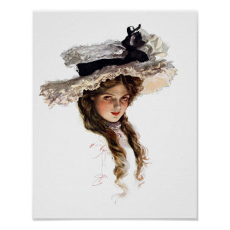 Vintage American lady with white hat Print