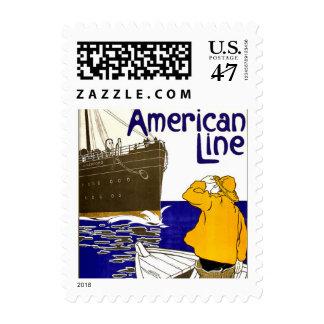 Vintage American Line Travel Small Postage