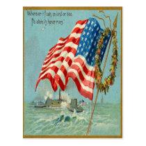Vintage American Patriotic Military Postcard