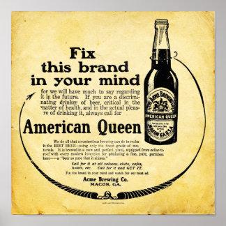 Vintage American Queen Beer Poster - Print