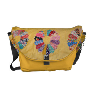 Vintage American Quilt yellow Courier Bag