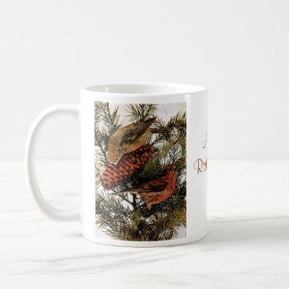 Vintage American Red Crossbill Birds Winter Pine Mugs
