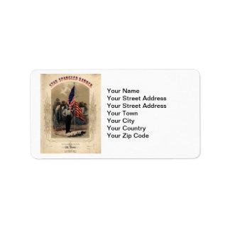 Vintage American Soldier and U.S. Flag Address Label