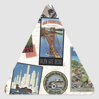 Vintage American Travel collage Triangle Sticker