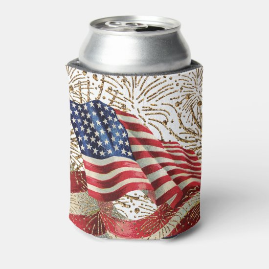 Vintage American USA Flag and July 4th Fireworks Can Cooler