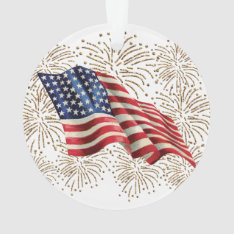 Vintage American Usa Flag And July 4th Fireworks Ornament at Zazzle