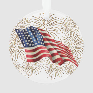 Vintage American USA Flag and July 4th Fireworks Ornament
