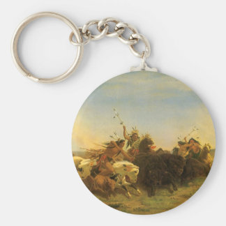 Vintage American West Art, Buffalo Hunt by Wimar Basic Round Button Keychain