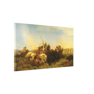 Vintage American West Art, Buffalo Hunt by Wimar Canvas Print
