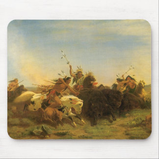 Vintage American West Art, Buffalo Hunt by Wimar Mouse Pad