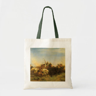 Vintage American West Art, Buffalo Hunt by Wimar Tote Bag