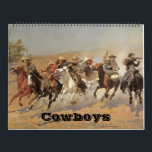 """Vintage American West Cowboys, Western Fine Art Calendar<br><div class=""""desc"""">Vintage 12 month fine art American West Cowboy calendar, featuring many favorite, famous artists! January - Cowboys from the Bar Triangle (1904) by CM Russell February - The Stage Coach (1915) by John Edward Borein March - The Cowboy (1902) by Frederic Remington April - A Dash For Timber (1889) by...</div>"""