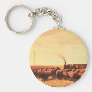 Vintage American West, Held Up by NH Trotter Basic Round Button Keychain