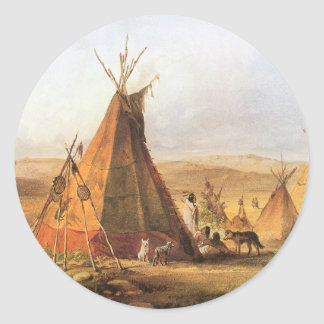 Vintage American West, Teepees on Plain by Bodmer Classic Round Sticker