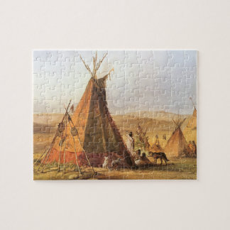 Vintage American West, Teepees on Plain by Bodmer Jigsaw Puzzle