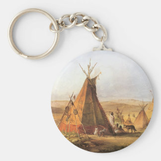 Vintage American West, Teepees on Plain by Bodmer Basic Round Button Keychain