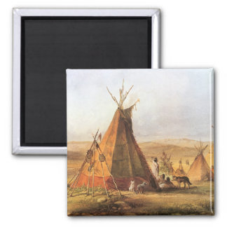 Vintage American West, Teepees on Plain by Bodmer Magnet
