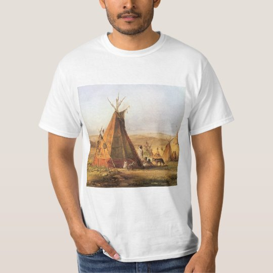 Vintage American West, Teepees on Plain by Bodmer T-Shirt