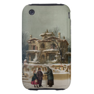 Vintage American Winter Christmas Scene iPhone 3 Tough Cases