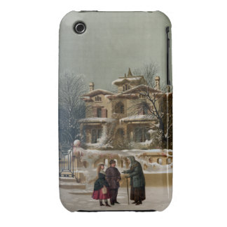 Vintage American Winter Christmas Scene iPhone 3 Cover