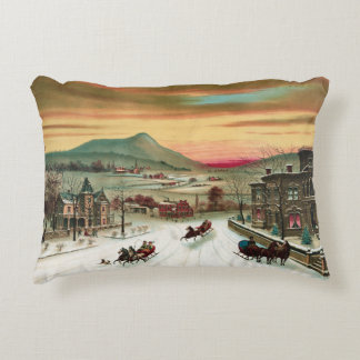 Vintage American winter scene Accent Pillow