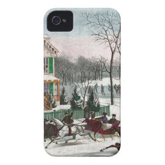 Vintage American Winter Scene iPhone 4 Case-Mate Cases