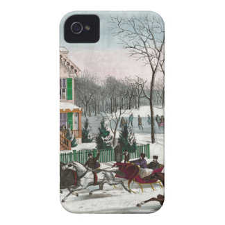 Vintage American Winter Scene iPhone 4 Cover