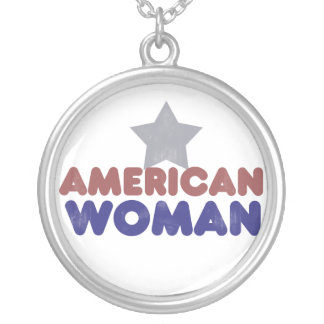 Vintage American Woman Round Pendant Necklace