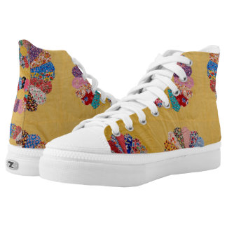 Vintage American Yellow Quilt High-Top Sneakers