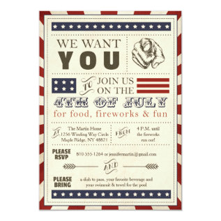 Vintage Americana 4th Of July Party Invitation at Zazzle