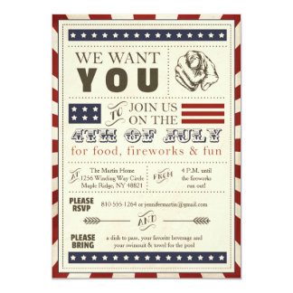 Vintage Americana 4th of July Party Invitation