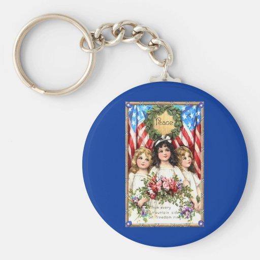 Vintage Americana Image on T shirts, Mugs, More Basic Round Button Keychain
